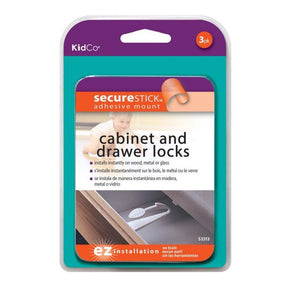 Adhesive Mount Drawer & Cabinet Lock - 3pk