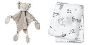 Afrique Elephant Lovey and lulujo Muslin Swaddling Blanket Set