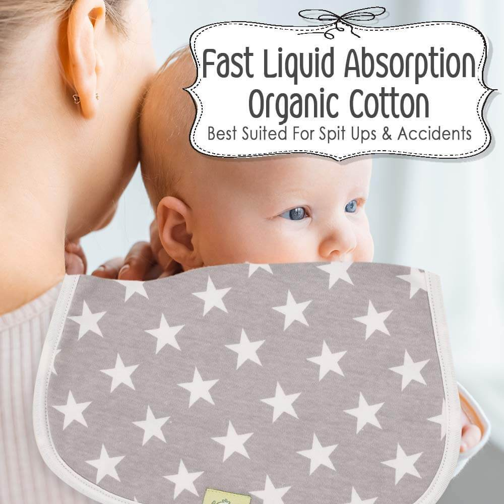 Organic Cotton Baby Burp Cloths - 5 Pack