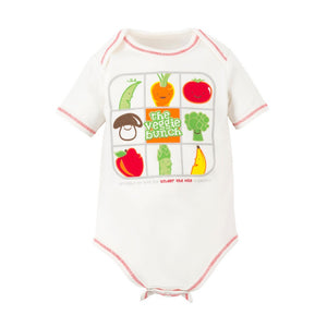 Baby Veggie Bunch Print Short Sleeve Lap Shoulder Bodysuit