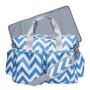 Blue and White Chevron Deluxe Duffle Diaper Bag