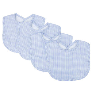 Blue Gingham Seersucker 4 Pack Bib Set