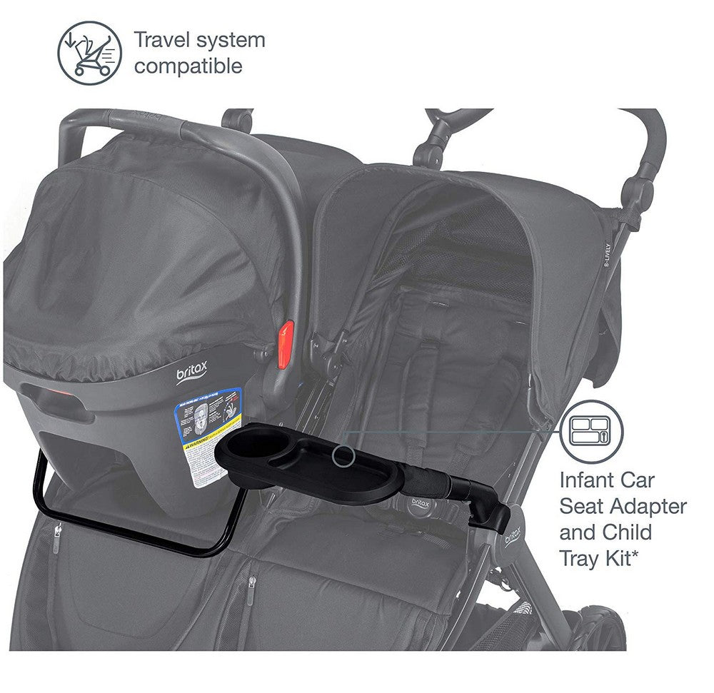 Britax B-Lively Double Infant Car Seat Adapter & Child Tray Kit