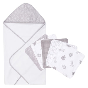 Circles Gray 6 Piece Hooded Towel and Wash Cloth Set