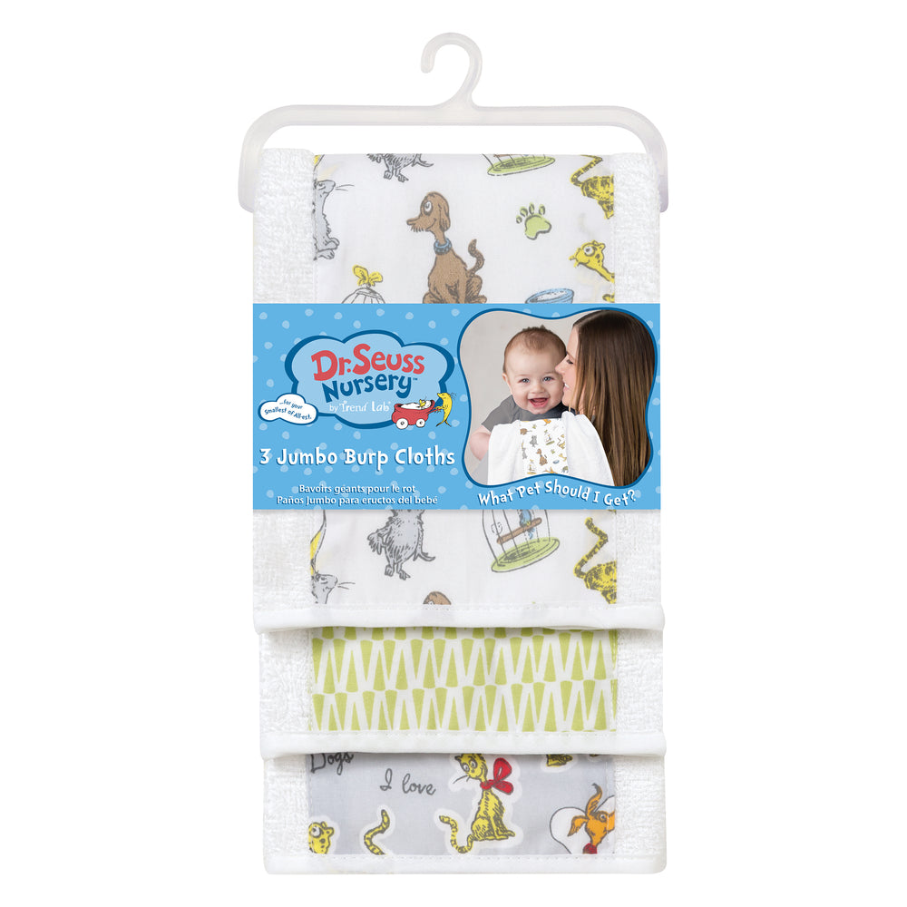 Dr. Seuss What Pet Should I Get? 3 Pack Jumbo Burp Cloth Set
