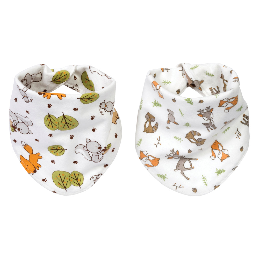 Forest Bunch 2 Pack Reversible Flannel Bandana Bib Set