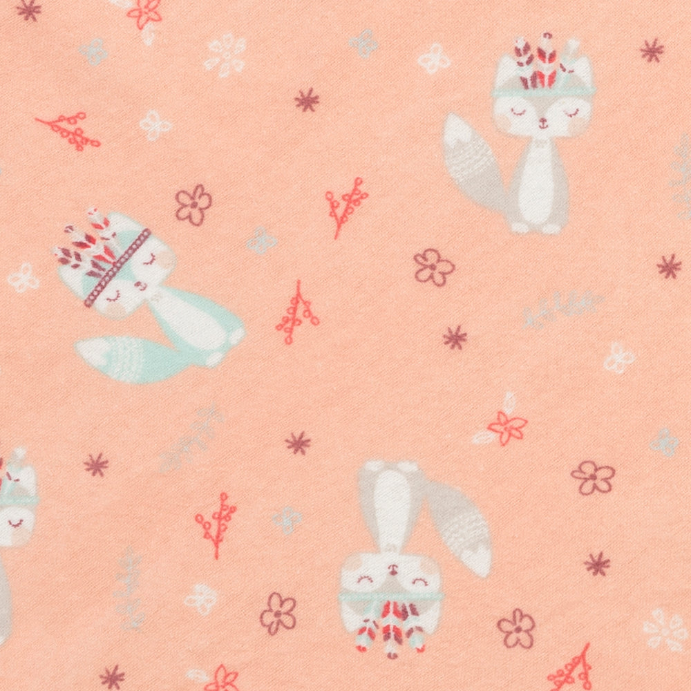 Fox and Flowers Jumbo Deluxe Flannel Swaddle Blanket
