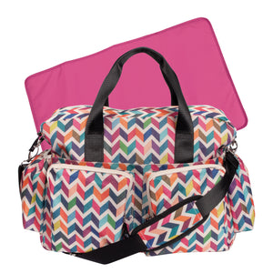 French Bull Ziggy Multi-Colored Chevron Deluxe Duffle Diaper Bag