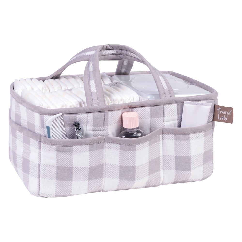 Gray and White Buffalo Check Storage Caddy