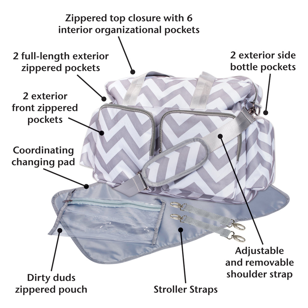 Gray and White Chevron Deluxe Duffle Diaper Bag