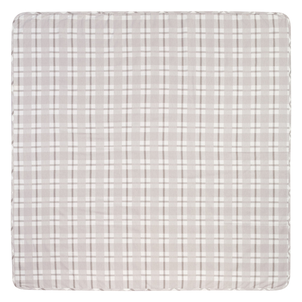 Gray and White Plaid Jumbo Deluxe Flannel Swaddle Blanket