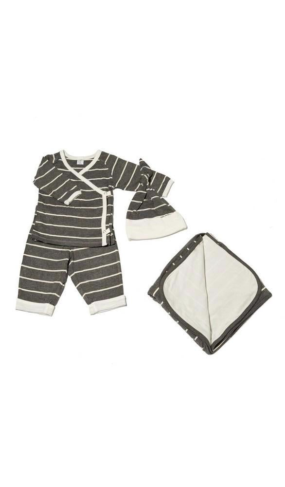 Kimono Top & Pant 4-Piece Take-Me-Home Set - Charcoal Stripe