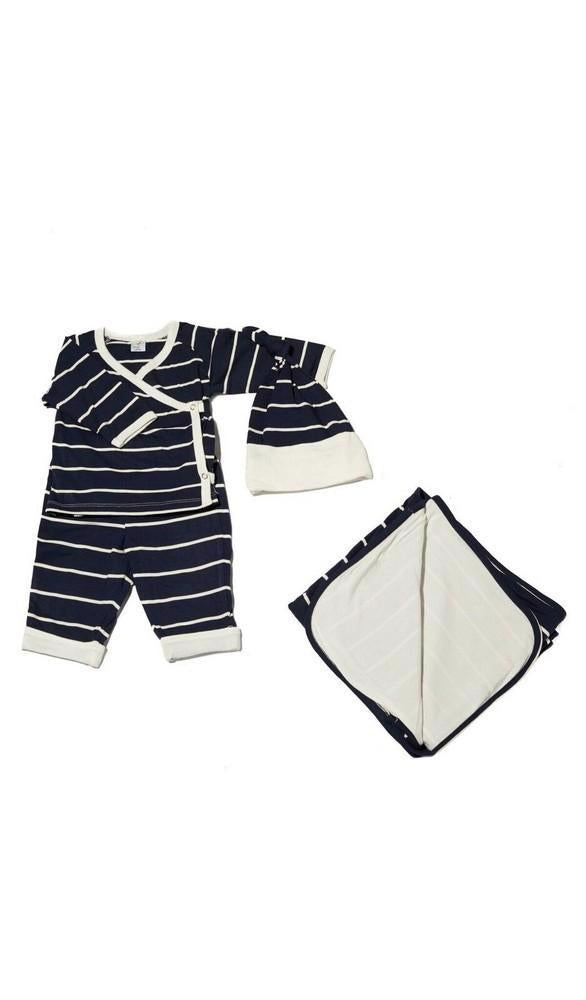 Kimono Top & Pant 4-Piece Take-Me-Home Set - Navy Stripe
