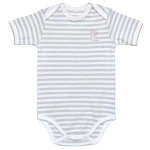 3-6M / Grey Stripe w/Pink Trim