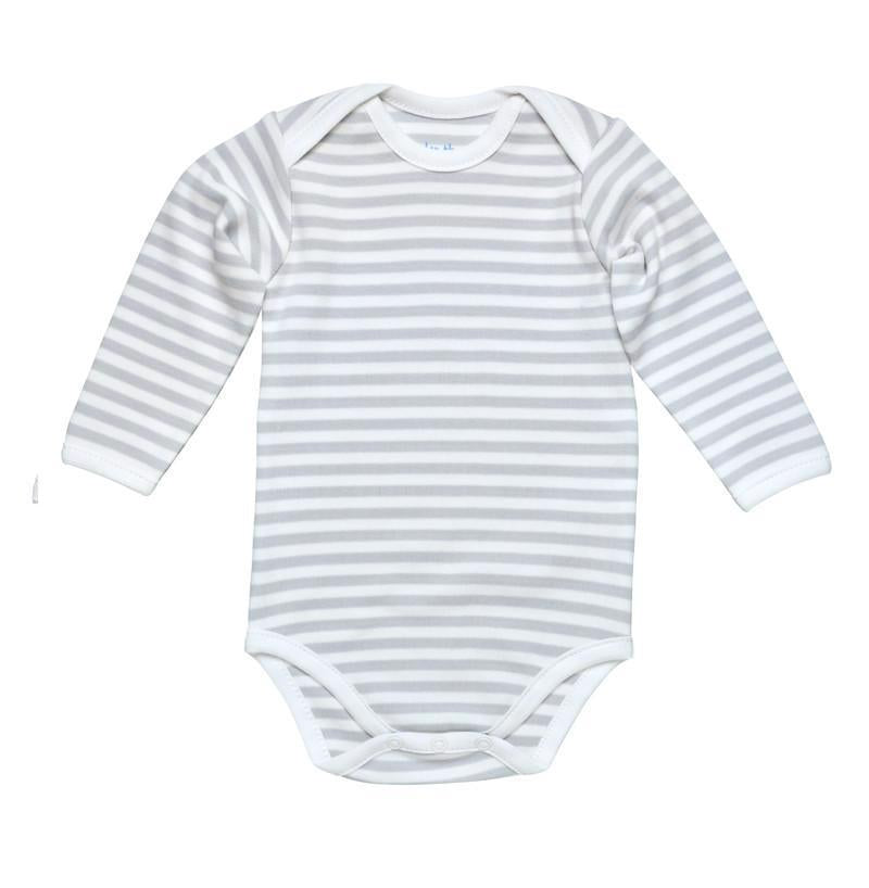 L/S Lap Shoulder Babybody, Grey Stripe