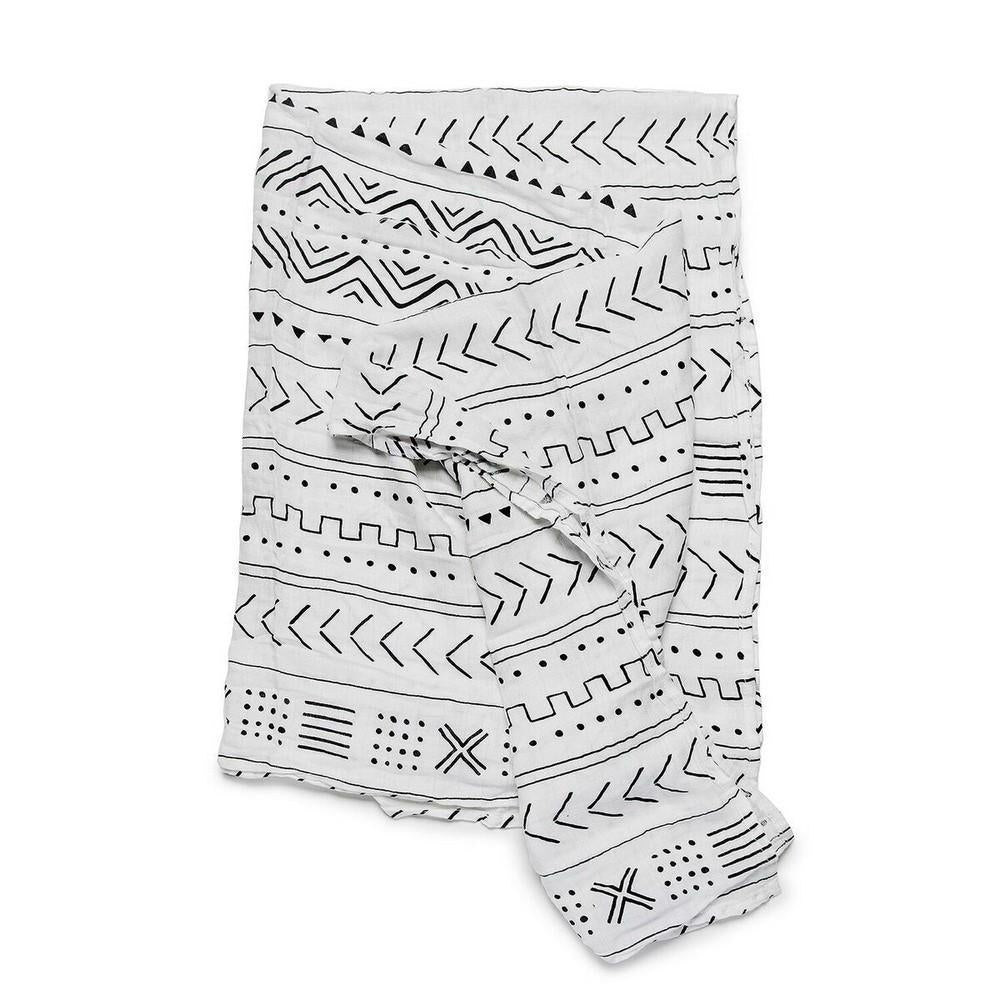 Mudcloth Muslin Swaddle Blanket-White