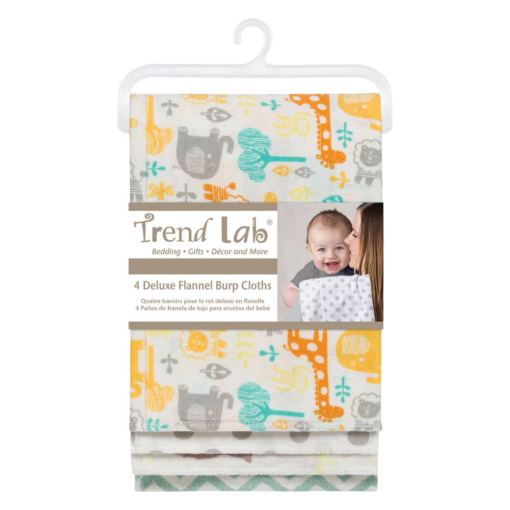 Mint Jungle 4 Pack Flannel Burp Cloth Set