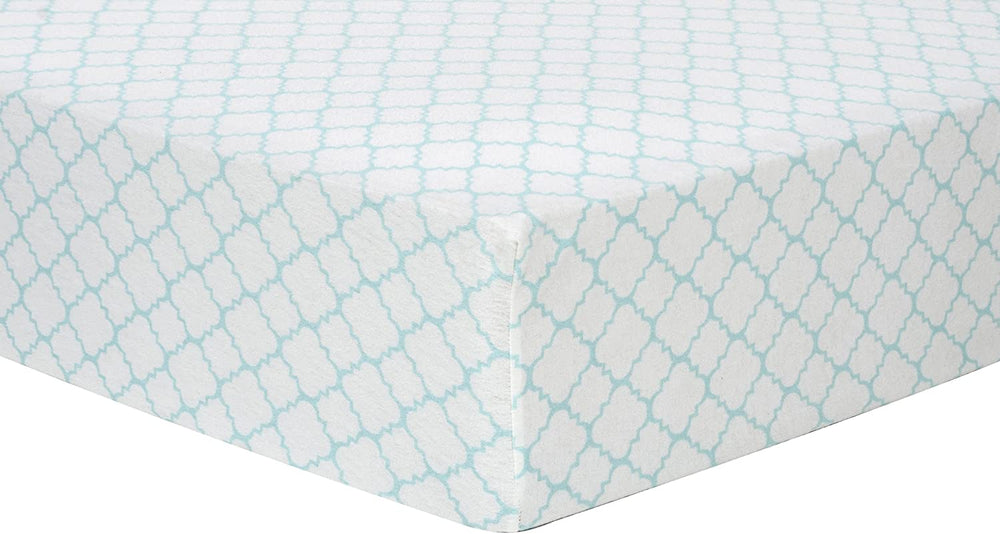 Mint Quatrefoil Deluxe Flannel Fitted Crib Sheet