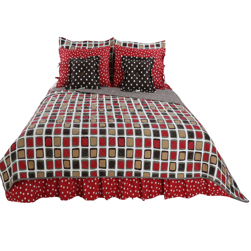 Multicolored Geometric & Dot Houndstooth 8 Pc Reversible Queen Bedding Set