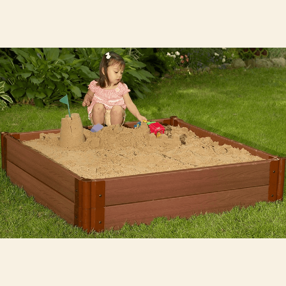 One Inch Series 4ft. x 4ft. x 11in. Composite Square Sandbox Kit with Collapsible Cover