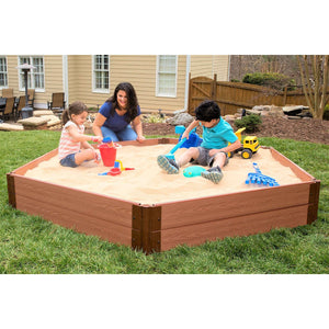 "Tool-Free Classic Sienna 7ft. x  8ft. x 11in. Composite Hexagon Sandbox Kit with Collapsible Cover - 1"" profile"