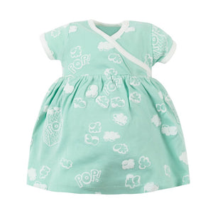 Organic Cotton Baby Girl Aqua Popcorn Puff Print Zen Dress with Bloomers