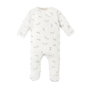 Organic Cotton Baby Stork Print Side Snap Footie