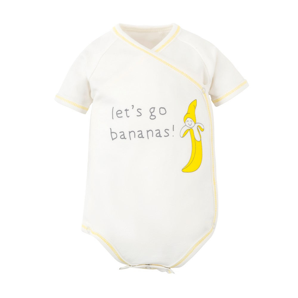 Organic Cotton Banana Print Short Sleeve Side Snap Bodysuit
