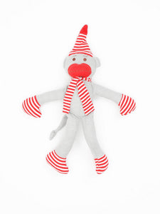 "Organic Cotton Big Holiday Monkey Toy - 11"" tall"