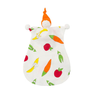 Organic Cotton Big Veggie Print Muslin Sleeping Doll Lovey