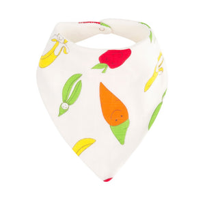 Organic Cotton Fruit and Veggie Print Bandana Dribble Bib