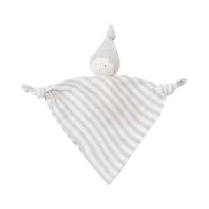 Organic Cotton Gray Stripe Baby Hanky Doll