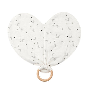 Organic Cotton Muslin Starry Night Heart Lovey Toy