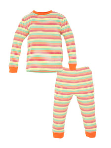 Organic Cotton Toddler Multicolor Stripe Long Johns