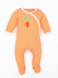 Organic Cotton Unisex Baby Orange Stripe Carrot Side Snap Footies
