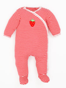 Organic Cotton Unisex Baby Red Stripe Strawberry Side Snap Footies