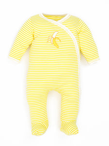 Organic Cotton Unisex Baby Yellow Stripe Banana Side Snap Footies