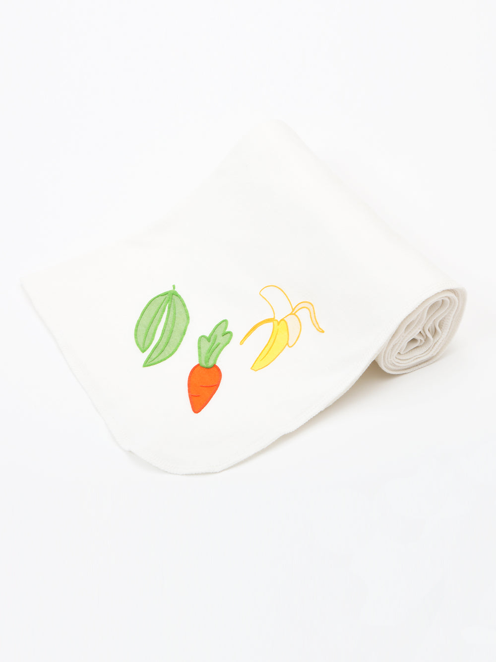 "Organic Cotton Unisex Veggie Embroidery Swaddle Blanket - 34"" x 34"""