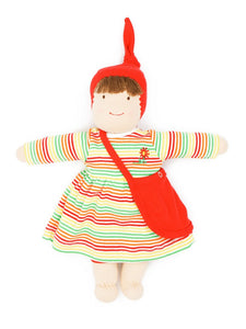 Organic Cotton Waldorf Inspired Jill Dress Up Doll-Multicolor Stripe
