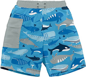 Pocket Trunks w/Built-in Reusable Absorbent Swim Diaper - Blue Whale