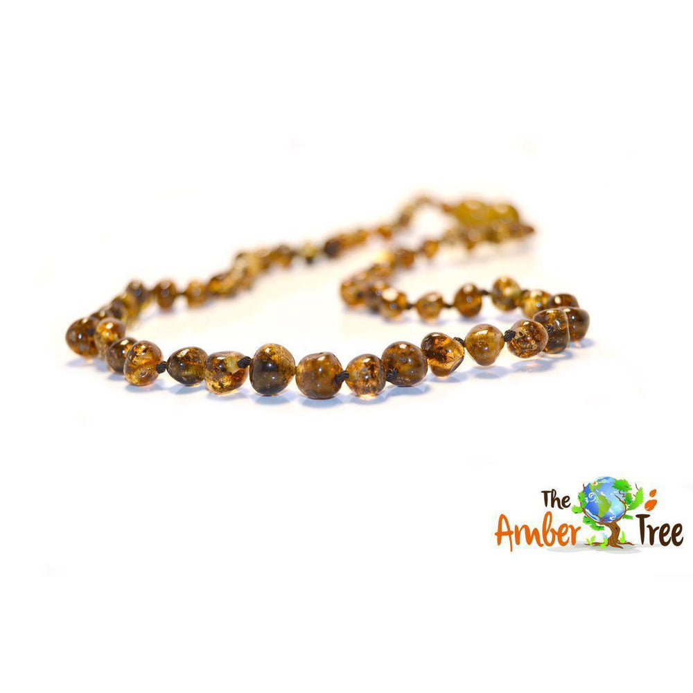 Polished Hazel Dark Baltic Amber Necklace