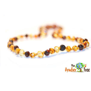 Polished White Choc Mocha Latte Baltic Amber Necklace