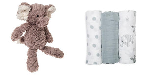 Putty Elephant Soft Toy and lulujo 3 Pk. Afrique Mini Muslin Cloths Set
