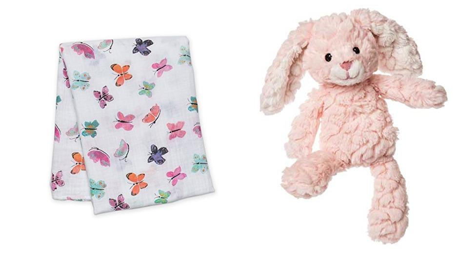 Putty Pink Bunny Soft Toy and lulujo Butterfly Muslin Swaddling Blanket Set