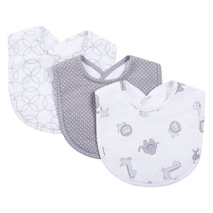 Safari Gray 3 Pack Bib Set