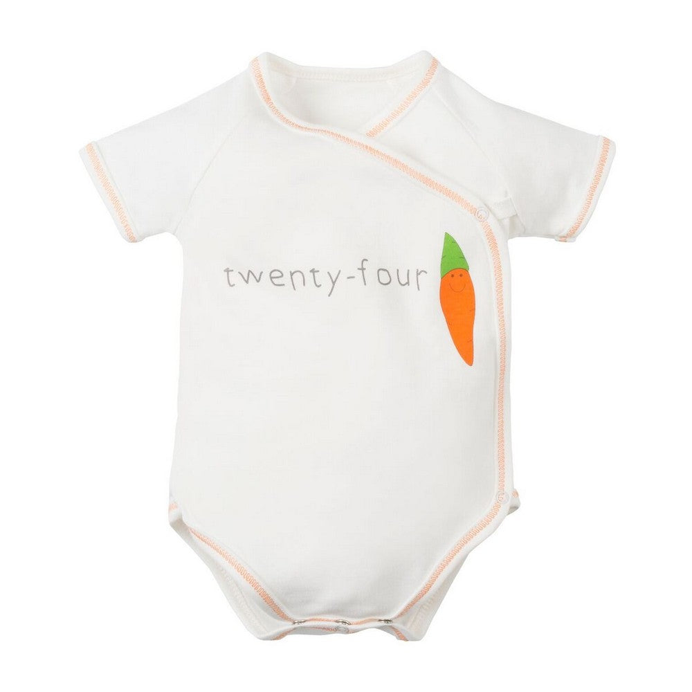 Short Sleeve Side Snap One-Piece Bodysuit - Orange Twenty Four Carrot Fruit & Veggie Collection