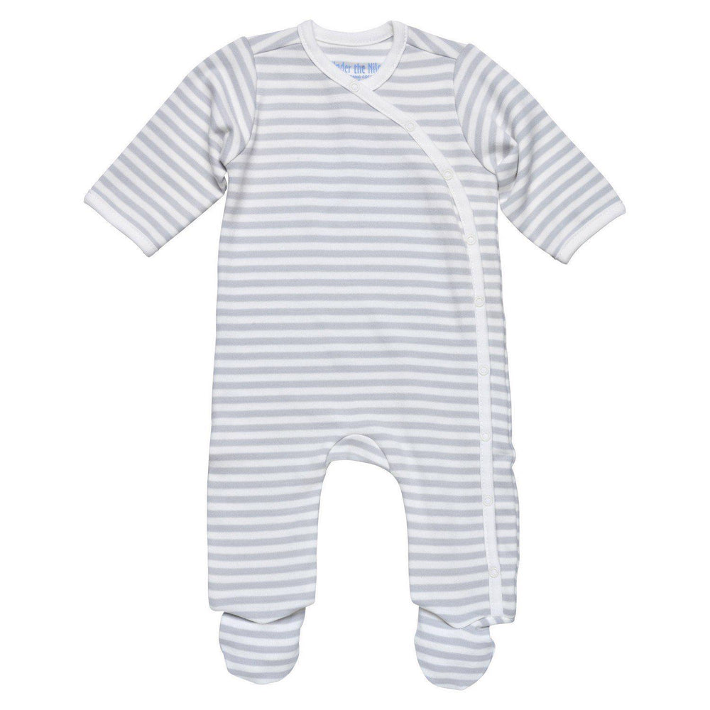 Side Snap Footie- Grey Stripe