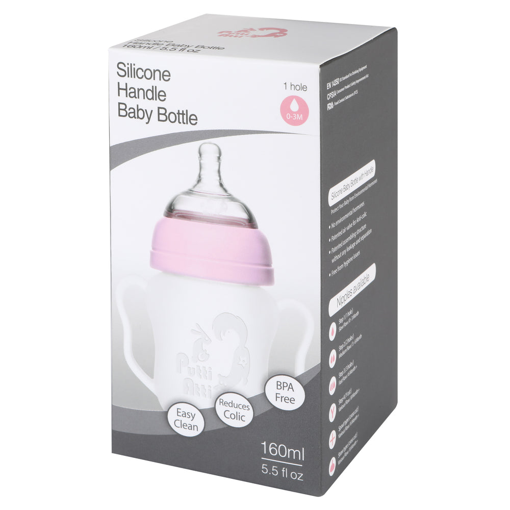 Silicone Baby Bottle with handle 5.5fl oz