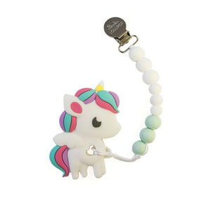Rainbow Unicorn Teether - White Mint
