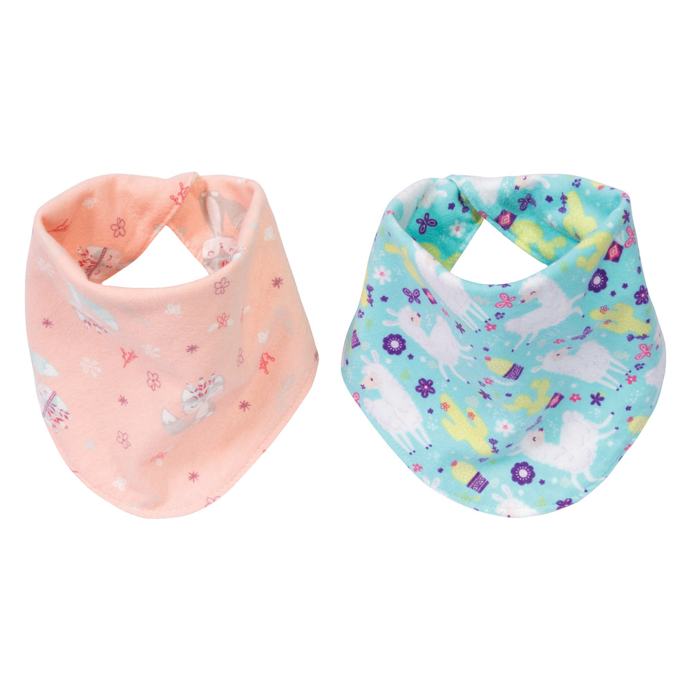 Southwest Llama 2 Pack Reversible Flannel Bandana Bib Set